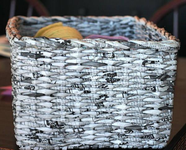 basket of newspaper tubes