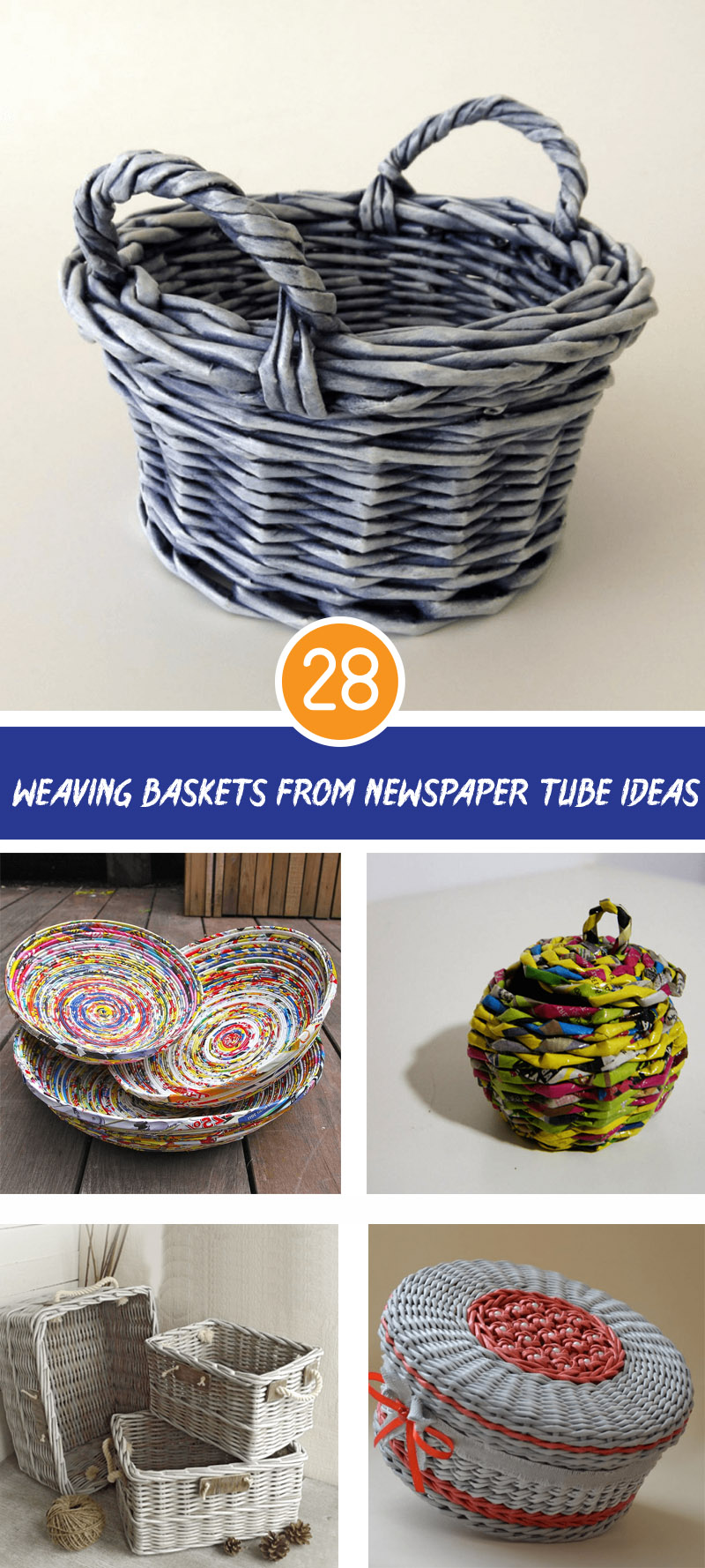 weaving baskets from newspaper tube ideas
