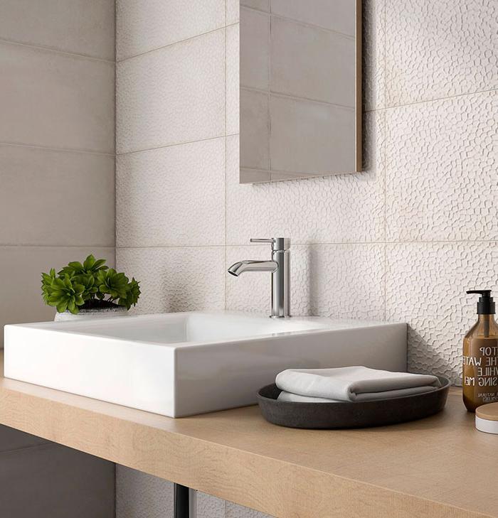 white glazed ceramic tile sink