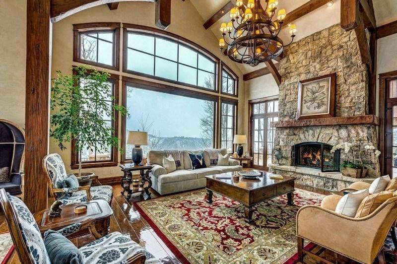 Beautiful interior of a living room with a fireplace in a private house