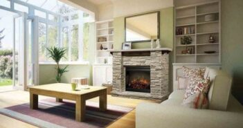 Contemporary Rustic Living Room Fireplace