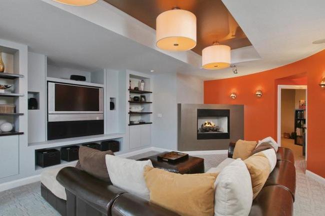 Corner fireplace in a modern interior
