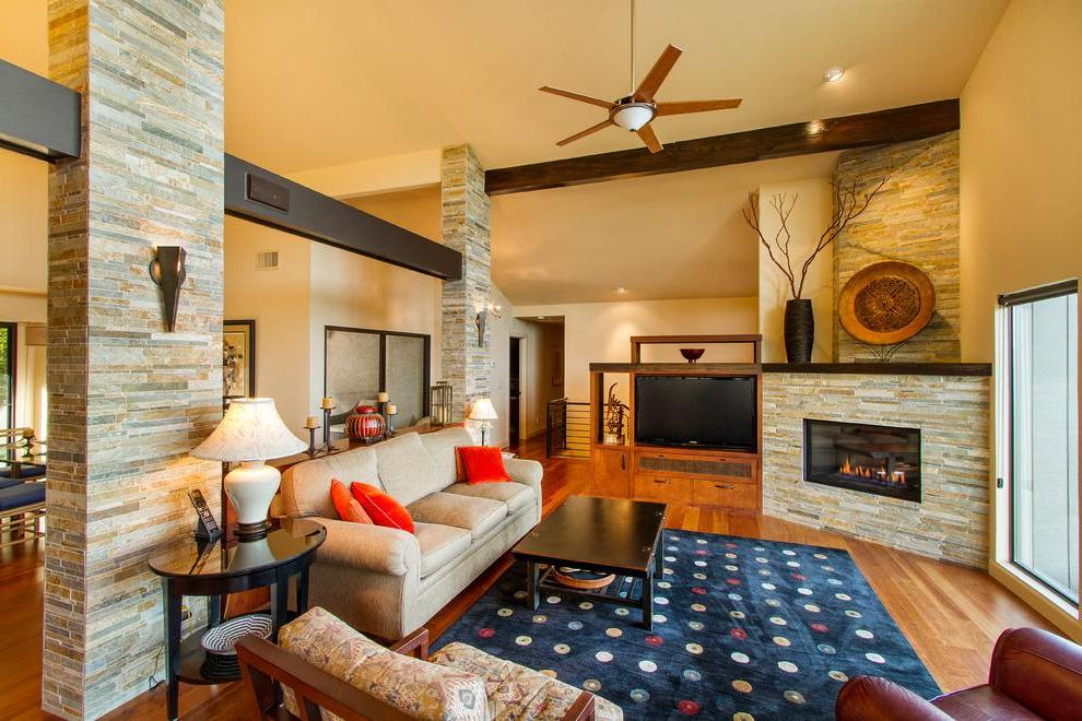 Decorating a corner fireplace with decorative stone