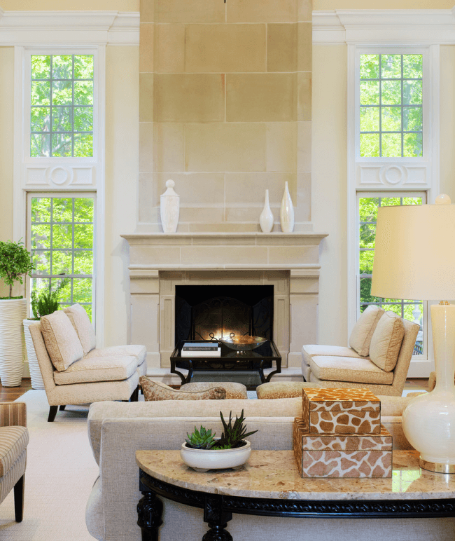 Fireplace decorated with limestone material