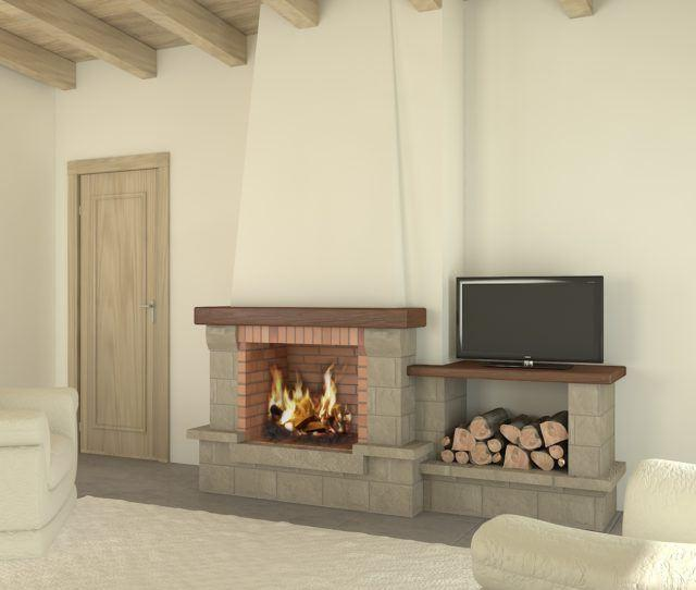 GRAY RUSTIC FIREPLACE WITH WHITE WALL
