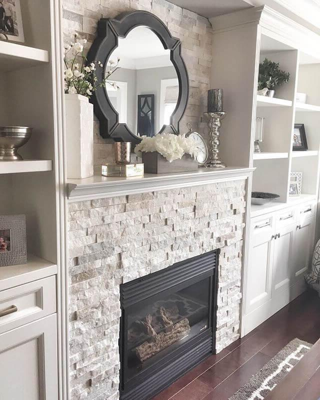 Gas fireplace mixes with built-in shelves