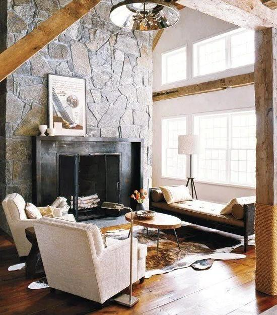 MODERN RUSTIC FIREPLACE WITH STONE WALL