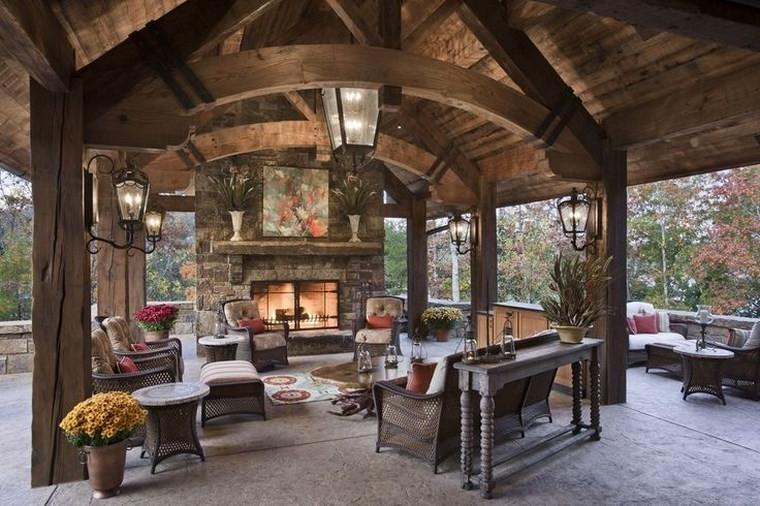 Rustic fireplaces ideas for outdoor living rooms
