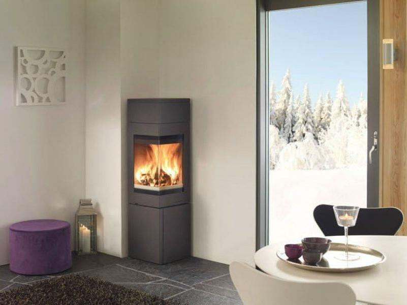 Steel stove fireplace for small spaces
