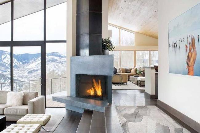 Unusual arrangement of a symmetrical fireplace