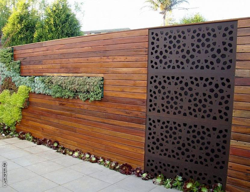 Wooden fence with metal
