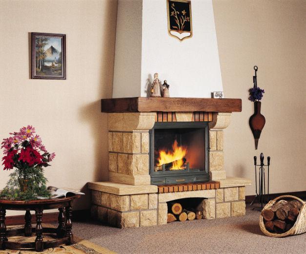 brick or wood corner fireplace