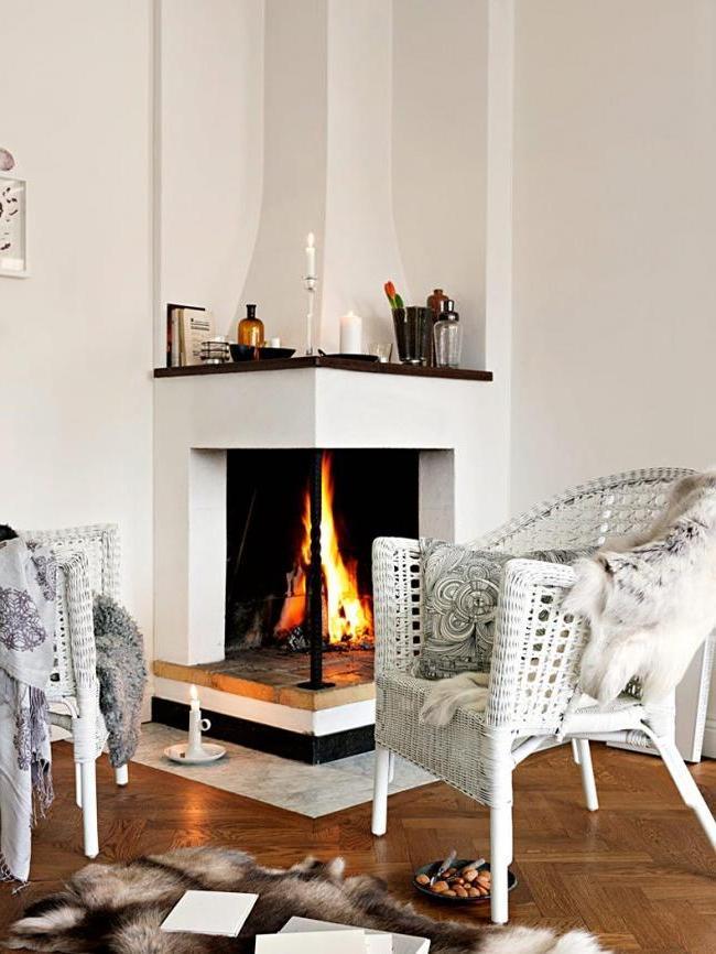 elegantly designed plaster corner fireplace