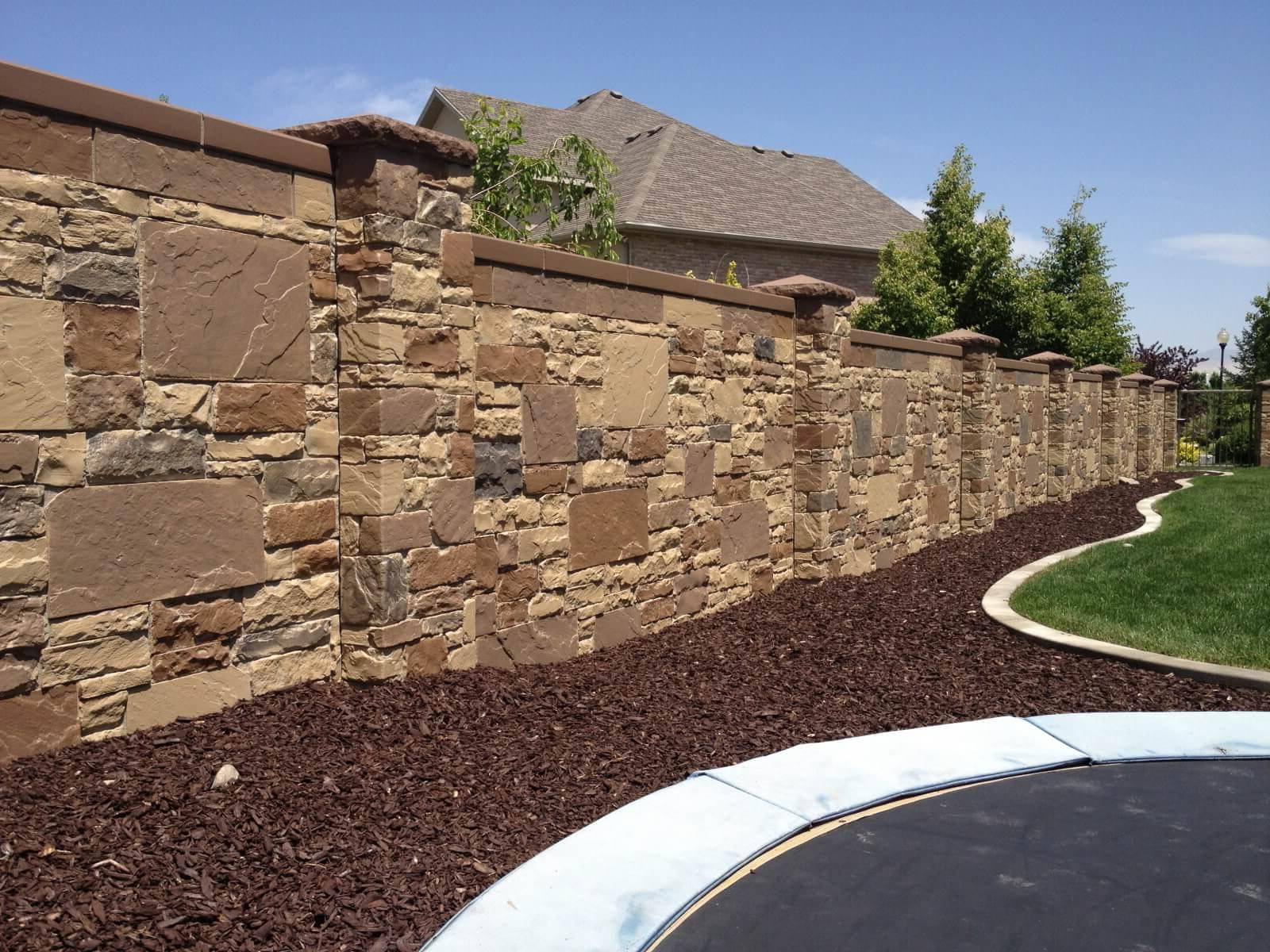 stone fence with columns